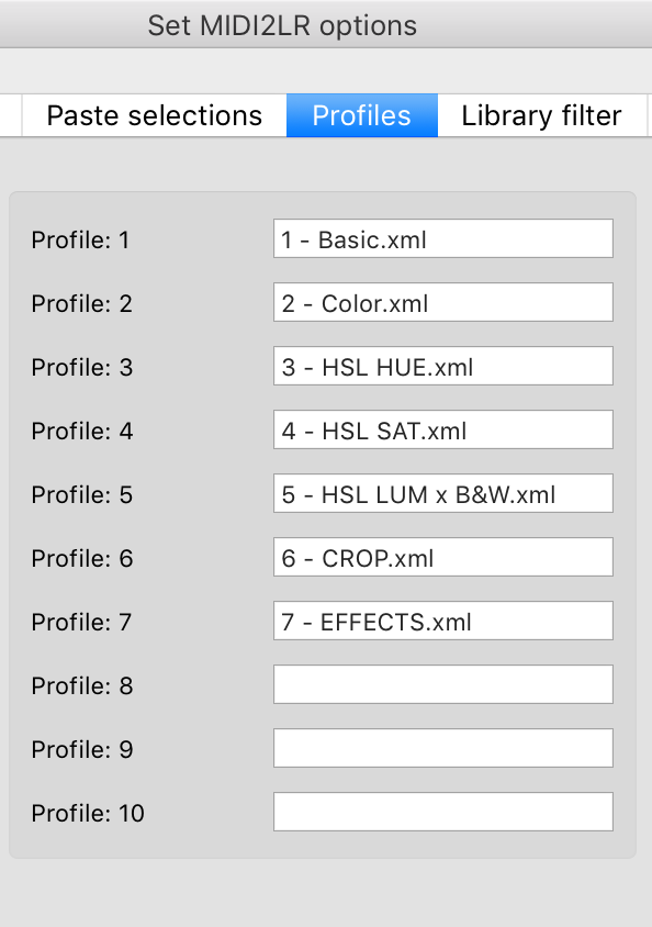 Set Midi2LR Options (Profiles)