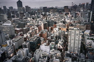 Overcast Daytime view of Minato, Tokyo Japan