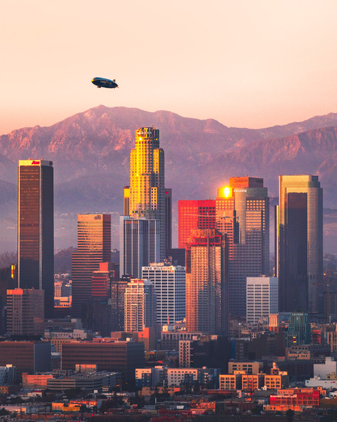Downtown Los Angeles Mountain Sunset