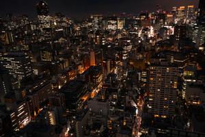 Illuminated Nighttime view of Minato, Tokyo Japan