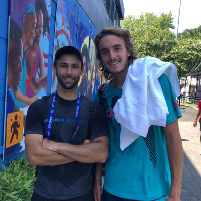 Brandon Larsen and Stefanos Tsitsipas after a practice