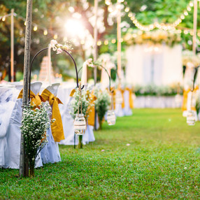 Beautiful  Wedding ceremony event in gar