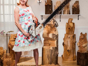 Debbie Tucker in a print ad for Exponential Chainsaw