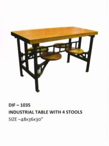 Wooden Top Industrial Table with 4 Stools