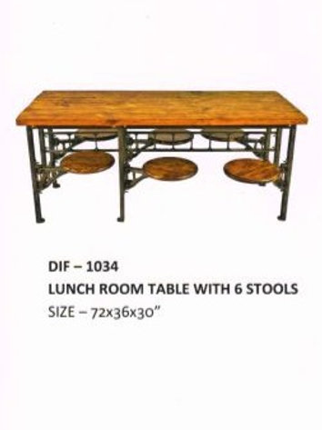 Wooden Top Industrial Table for Lunch Room with 6 Stools