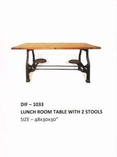 Wooden Top Industrial Table for Lunch Room with 2 Stools