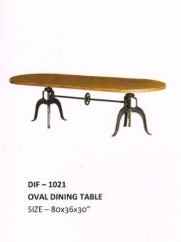 Wooden Top Industrial Oval Dining Table with Crank