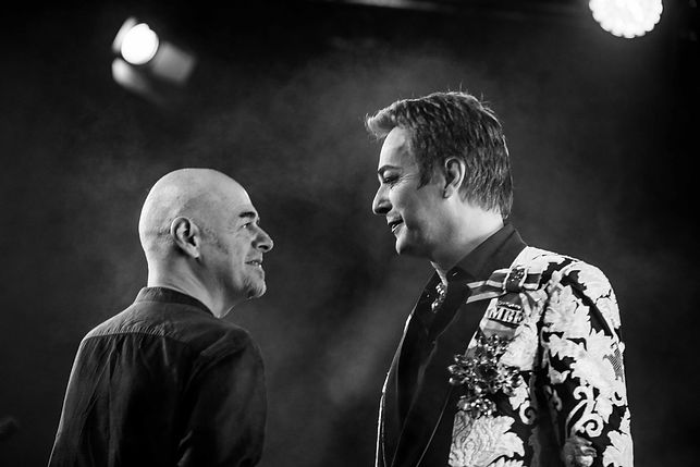 Julian Clary and Paul Thorne