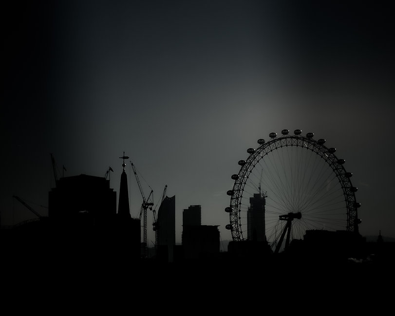 A London cityscape of the southbank with the London Eye