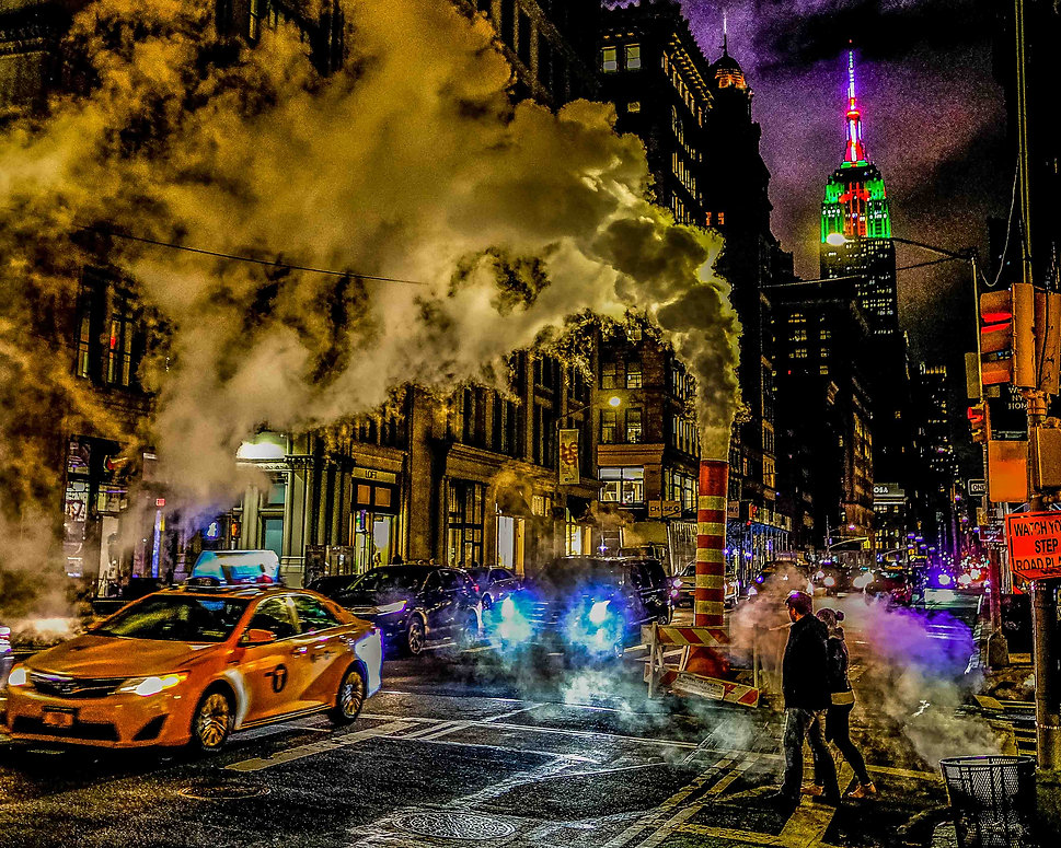 New York in vibrant colour with steam billowing out from the ground.