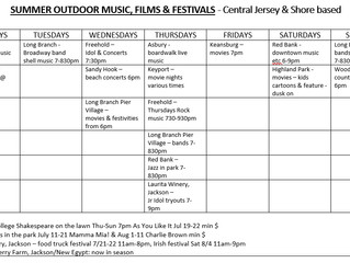 Summer 2018 Outdoor Movies, Music & Plays - Central Jersey & Shore based (mostly $0)