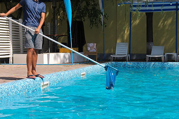 Pool cleaning with a net..jpg
