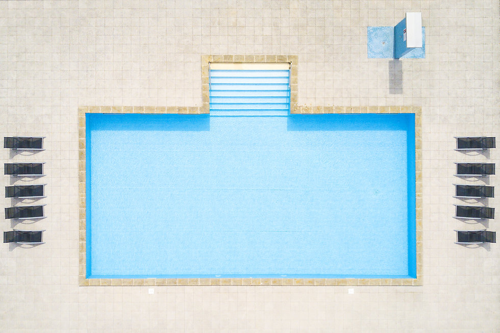 Aerial view of swimming pool outside hot