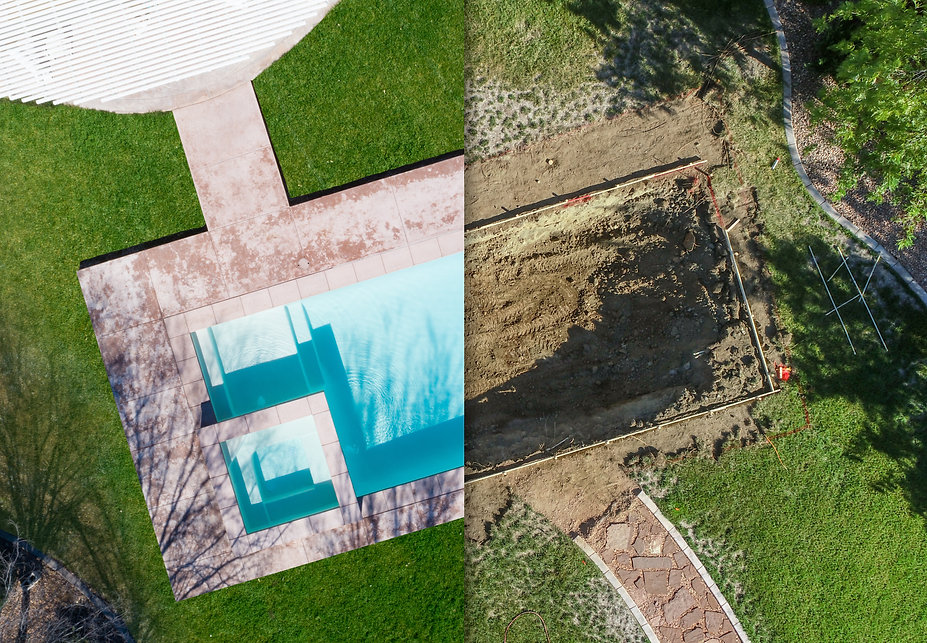 Aerial of Before and After Pool Build Co