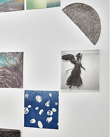 wall installation, detail, cut up prints, photographic transparencies.