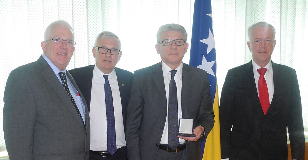Stewart Dickson MLA (left - in his role as Rapporteur on Local and Regional Elections in Bosnia & Herzegovina & Vice President of the Council of Europe's Monitoring Committee), Anders Knape (Vice President Council of Europe [from Sweden]), Šefik Džaferović (Speaker Bosnia & Herzegovina Parliament (holding gift) & Leene Verbeck (Chair of the Council of Europe Monitoring Committee).