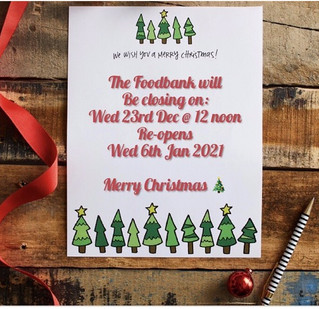 Carrickfergus Foodbank Christmas & New Year Opening Times