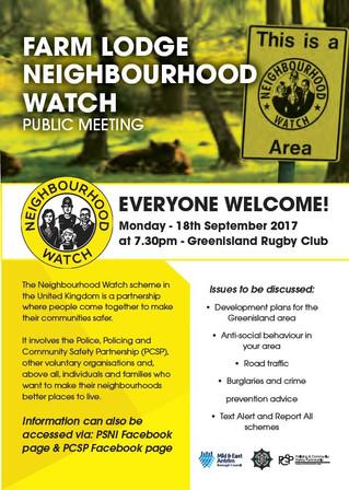 Greenisland Neighbourhood Watch Scheme Meeting - Mon 18 September