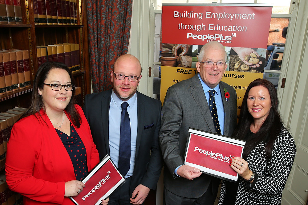 Stewart Dickson MLA (second right) with the PeoplePlus NI Team; Judith Cochrane, Operations Director (left), Jonathan McConnell, Trainer (second left) and Paula Barrett, Trainer (right)