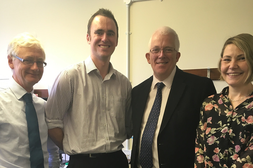 Dr Howie, Dr Brown, Stewart Dickson MLA, T Cowan, Larne Family Practice Manager