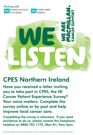 NI Cancer Patient Survey an Important Opportunity to Improve Patient Experience - Dickson