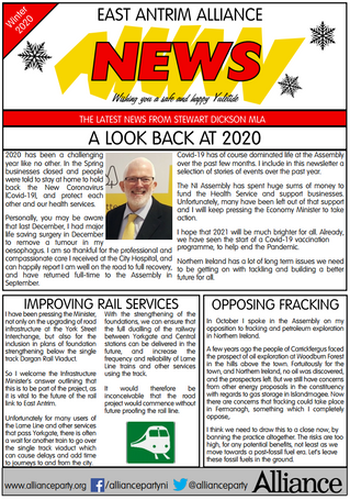 Stewart Dickson MLA Winter 2020 Newsletter