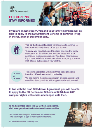 Important for EU Citizens to Stay Informed about Settlement Scheme – Dickson