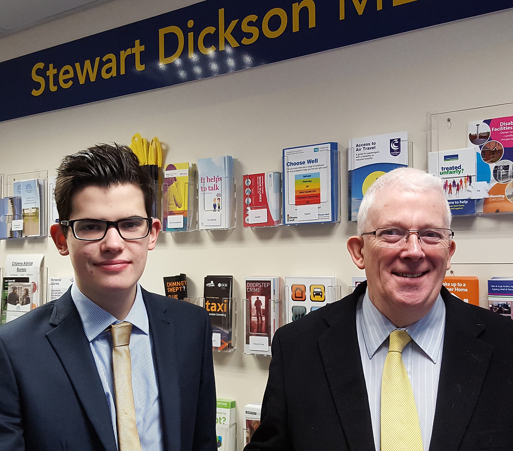 David Balmer (Larne Grammar School) with Stewart Dickson MLA during his work experience in the Alliance Constituency Office