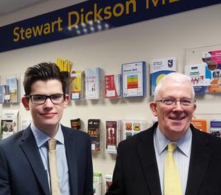 Stewart Dickson MLA hosts Larne Grammar School Work Experience Pupil
