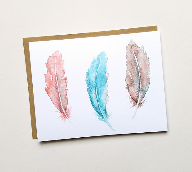 Feather Triplet Note Card