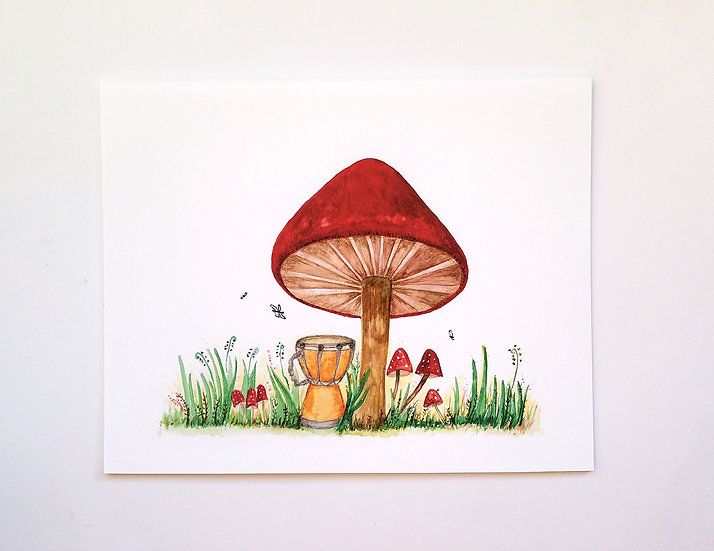 Cozy Red Mushroom Art Print