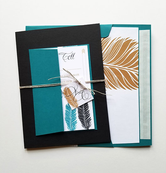 Wild Desert Feathers Wedding Invitation Bundle