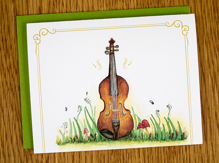 Whimsical Violin Note Card