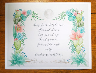 Custom Watercolor Border Designed for a Personal Mantra