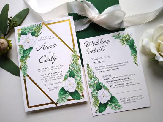 Gold Foil & Greenery: Anna & Cody