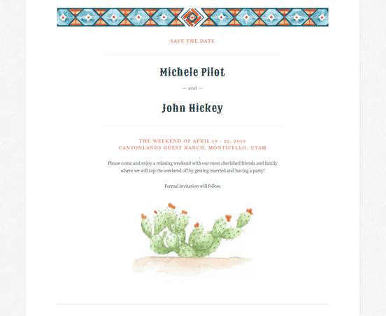 A Desert Paperless Invite: Michele & John