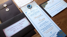 Custom Designed String and Button Wedding Invitations for Hannah and Craig