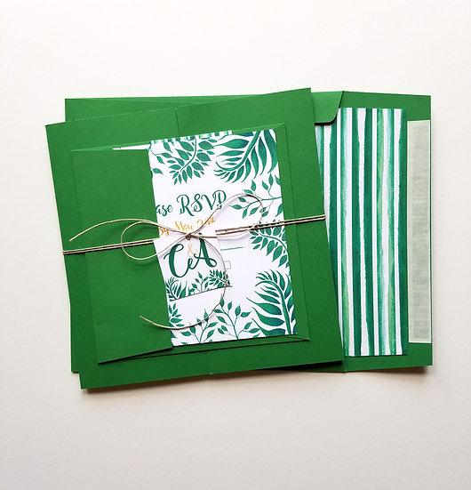 Leafy Botanical Wedding Invitation Bundle