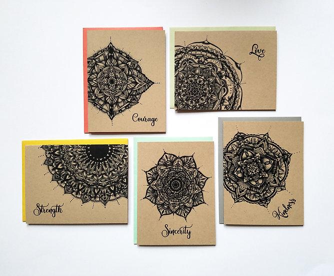 Mandala Series - Set of 5 Note Cards
