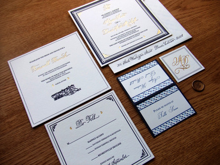 Gold Foil with Custom Calligraphy: Alyssa & Dave