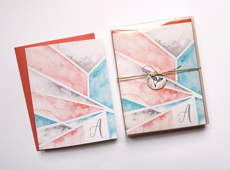 Personalized Geometric Watercolor Note Cards