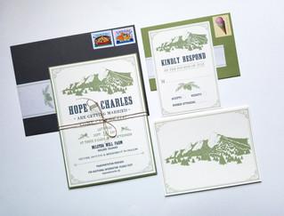 Hope & Charles' Wedding Invitation Bundle, Featuring the Boulder Flatirons