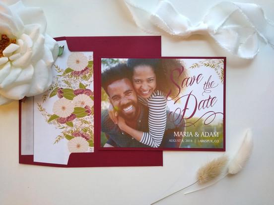 Rustic Floral Save the Date: Maria & Adam