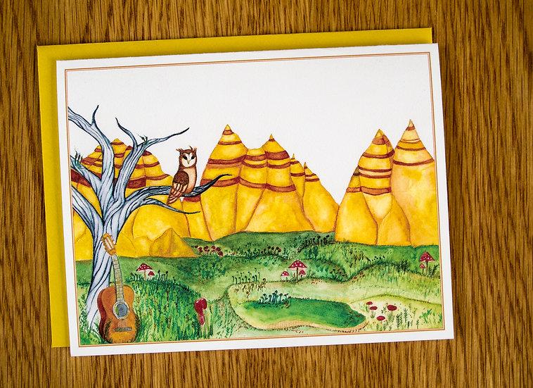 Watercolor Landscape Note Card