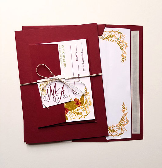 Rustic Floral Wedding Invitation Bundle
