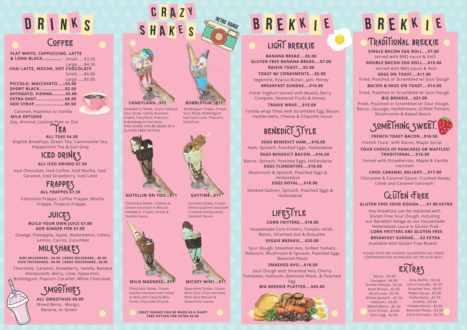 Drinks, Crazy Shakes and Breakfast Menu