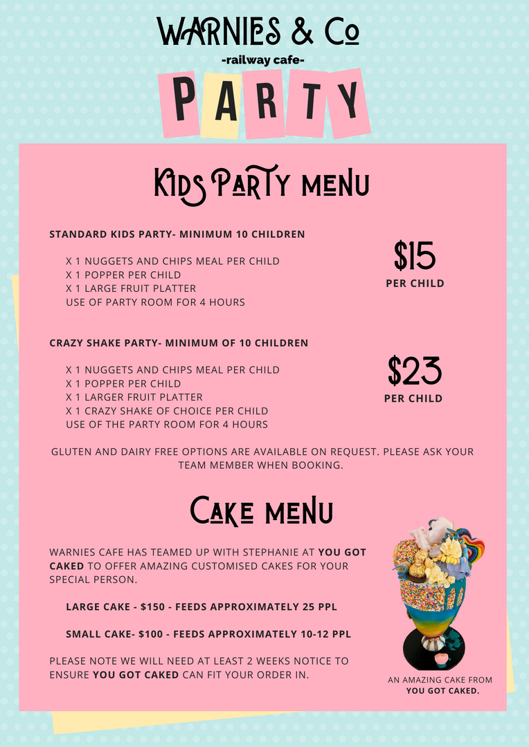 Kid's Party Menu & Cakes Menu