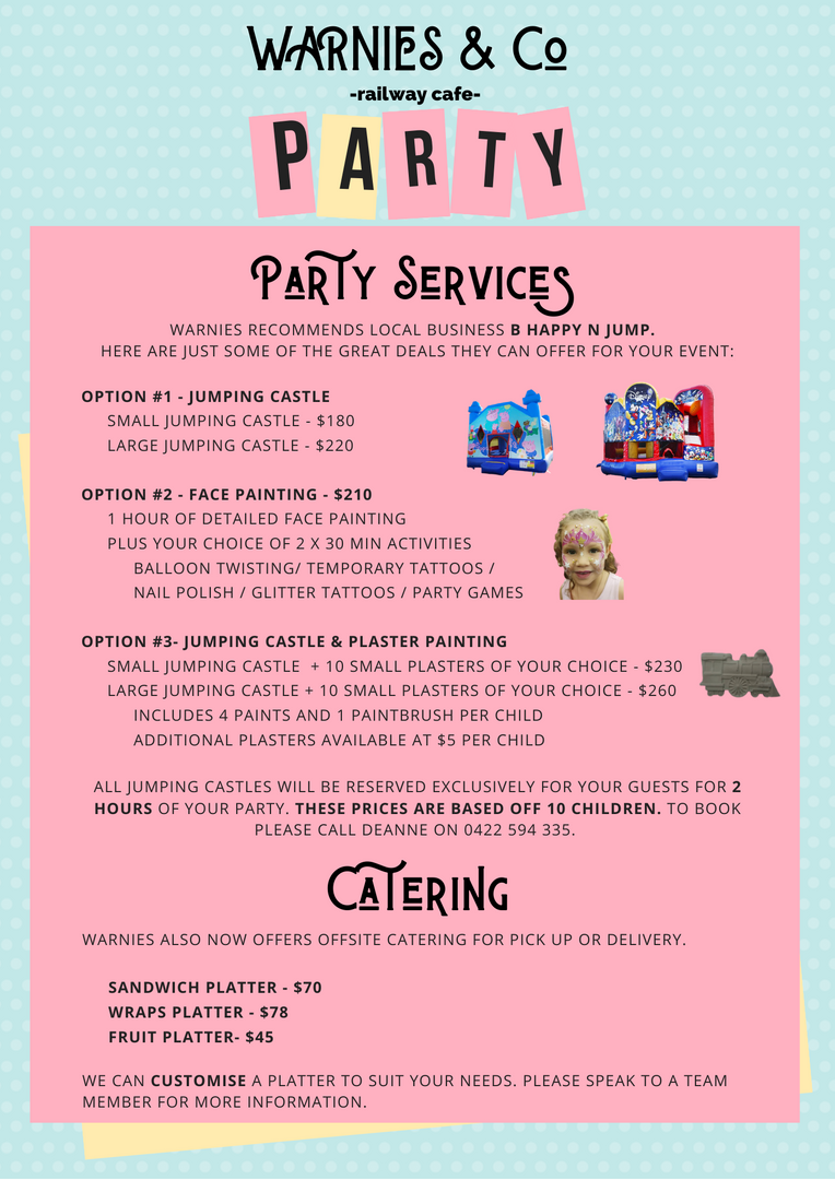 Party Services & Catering Menu