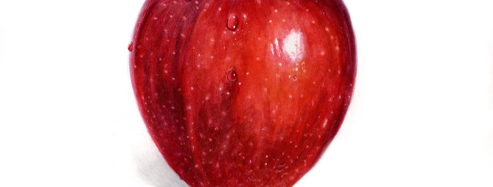 Red Apple with Droplets