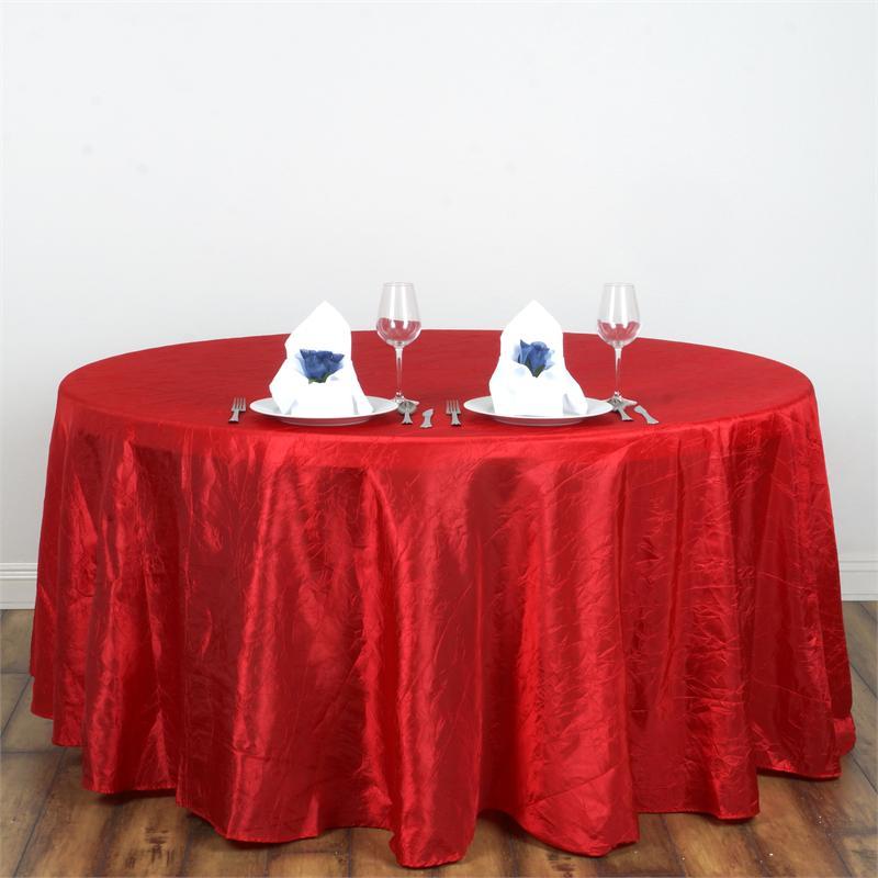 Red crinkle taffeta tablecloth